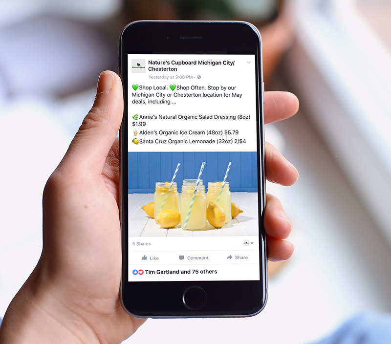 Health Food Store Social Media  - Nature's CupboardWe develop Facebook/Instagram posts and create social media advertising campaigns for Nature's Cupboard, a health food store that offers supplements, organic produce, local food, and more.