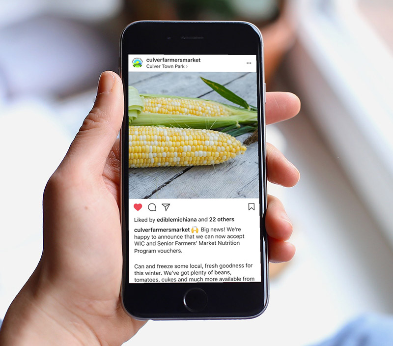 Farmers Market Social Media - Culver Farmers' MarketWe develop Facebook posts, Instagram posts, and social media advertising campaigns for the Culver Farmers' Market.