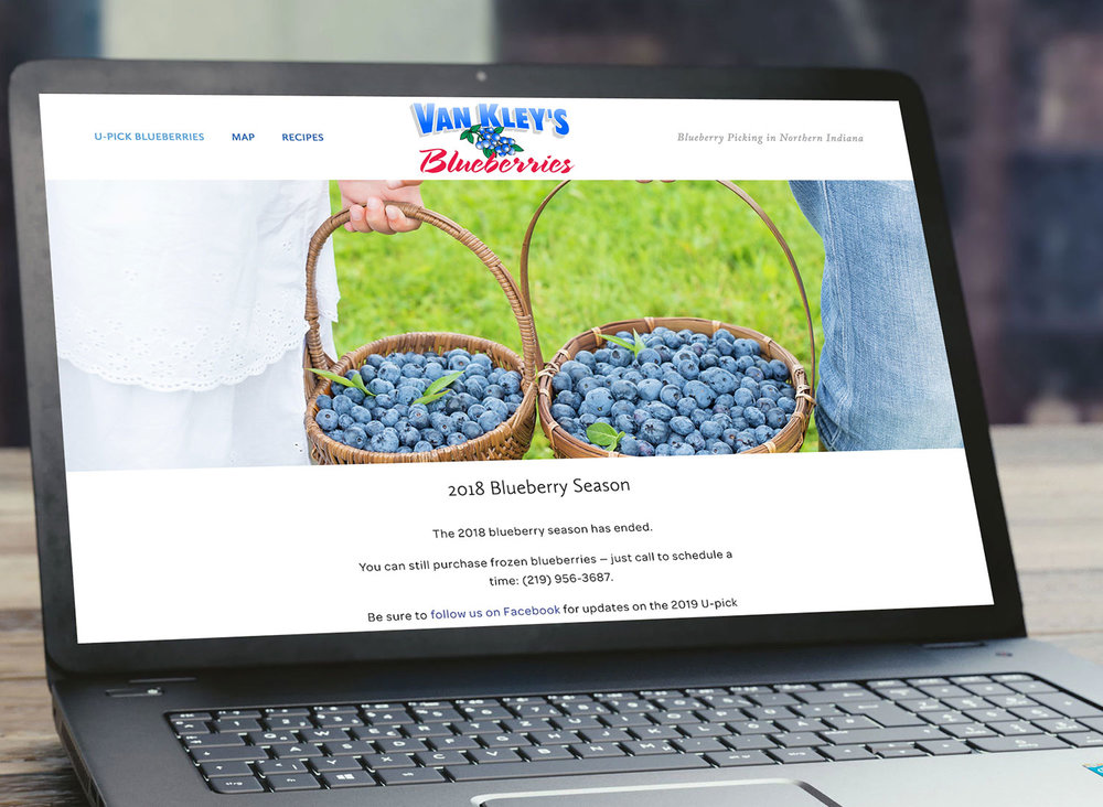 Van Kley's Blueberries - Small U-pick Farm WebsiteThis small u-pick farm wanted a simple website — just the basics so that searchers can discover their farm in Google and easily find seasonal updates, hours, and directions.