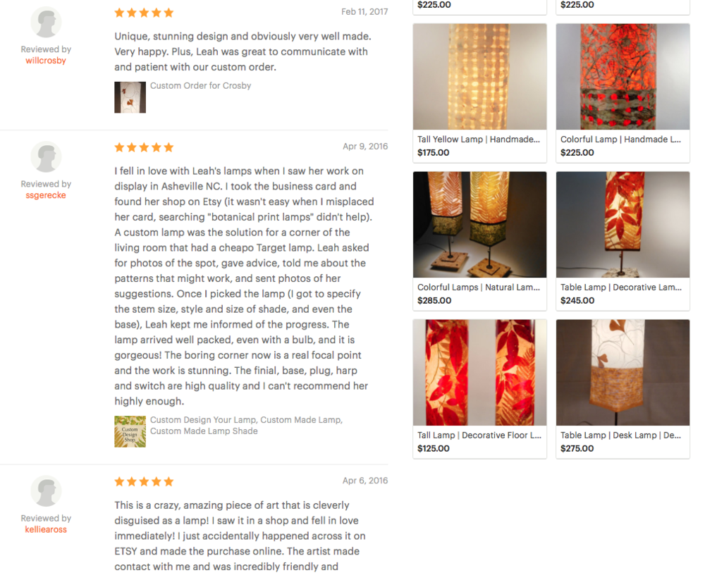 Luminosa Lighting Reviews on Etsy