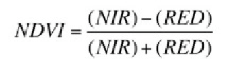 Common formula for NDVI.