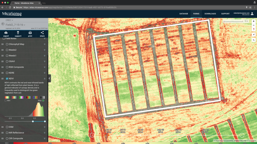 7月15日のNDVI(範囲0.46~0.95) - NDVI は作物の活力を数値化する。NDVI値の低い区画は、緑の植物組織がほとんどない、あるいはまったくない場所を示す。