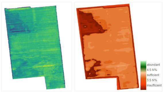 空撮画像から生成した補正窒素マップは、濃度(左)および充足性(右)範囲を示している。