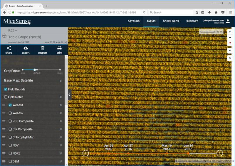 雑草1のレイヤでは、クロロフィル含有量の高いボランティアヅルは、より明るい赤色で示されている。