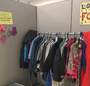 Check out the Lost & Found by the afternoon of Wednesday, November 9th before they are taken away for donations.