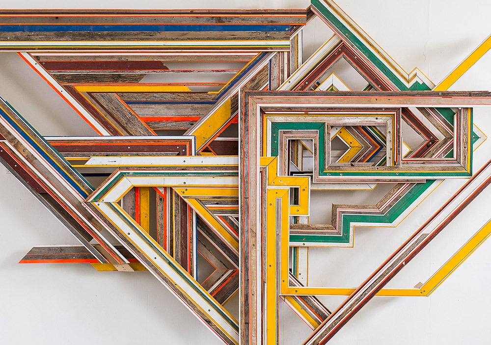 Plumule  (Reedsburg, WI/ Marquette, NE/ Utica, NY), 2013  Wood collected from rural outbuildings, painted wood, nails, screws, 2013, 10' x 5.5'