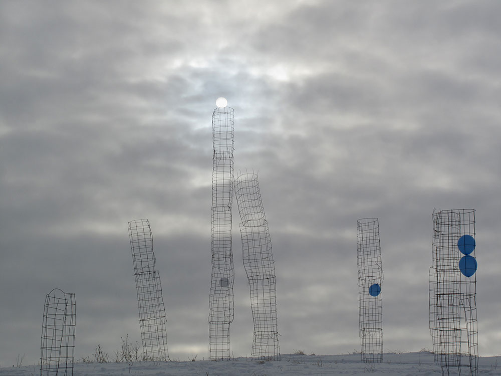 Sky Cage Traps, January 2011, stacked tomato cages; Dellano Township/ Reedsburg, Wisconsin
