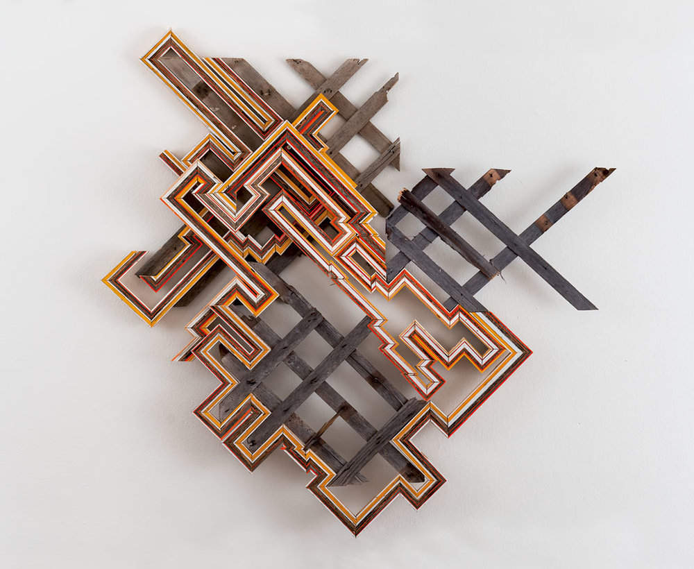 Three Broken Lattices  (Reedsburg, WI/ New Orleans, LA/ Ann Arbor, MI), 2014  Collected wood lattice, wood collected from rural outbulidings, paint, nails, screws, 48 x 55 inches