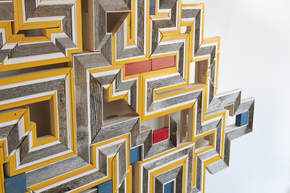 """DETAIL - Untitled , 2019. cedar boards, painted pine and poplar, found matrial, 54"""" x 55"""" x 3.5"""""""