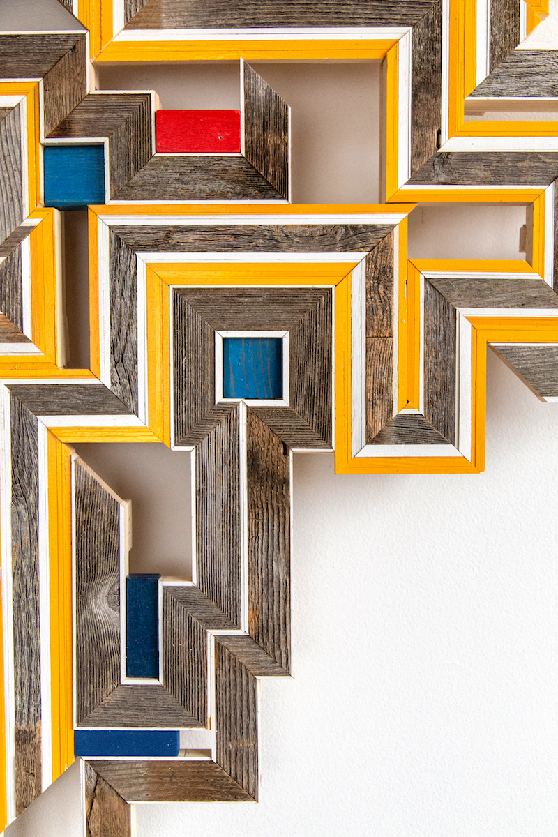 """DETAIL - Untitled, 2019. Cedar boards, painted pine and poplar, found material, 54"""" x 55"""" x 3.5"""""""