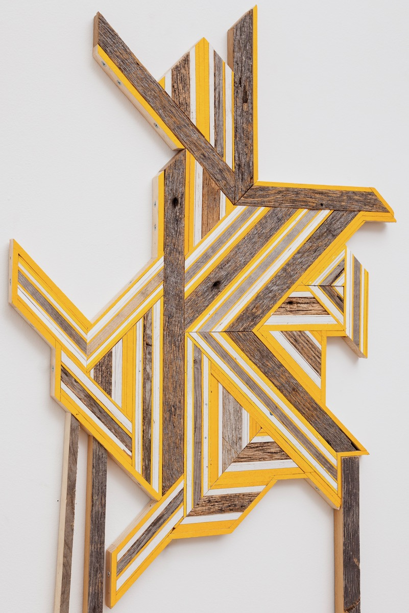 DETAIL - Untitled  (Reedsburg, WI/Somerville, MA/Ann Arbor, MI), 2017 Cedar boards, found wood, painted pine