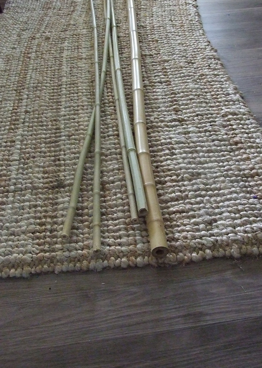 lengths of 1cm and 2cm bamboo poles.