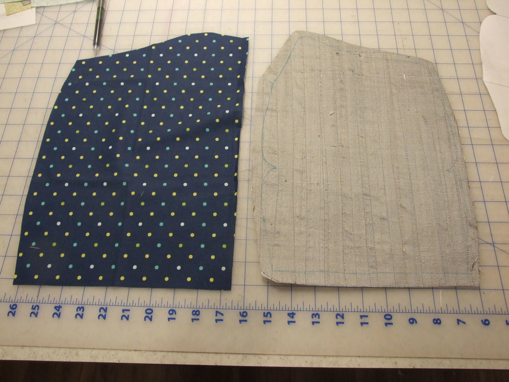 . At irregular intervals, stitch vertical rows across the silk to add visual interest and to keep the silk and interfacing from separating . Select a lining fabric - I chose a fun polka dot cotton . Trace the purse pattern onto both the silk and lining with a water soluble pen.