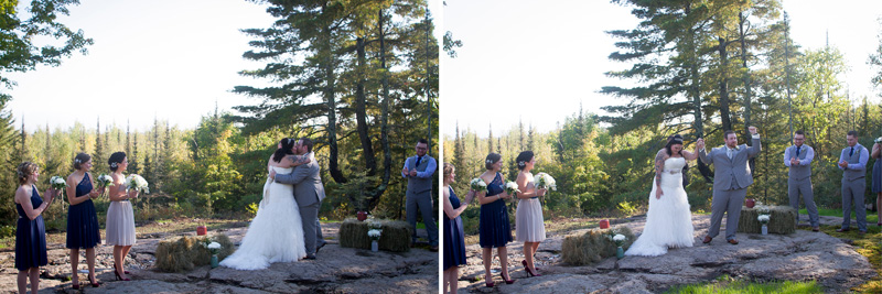 07-northshore-lake-superior-minnesota-vacation-home-backyard-fall-wedding-ceremony-first-kiss-melanie-mahonen-photography