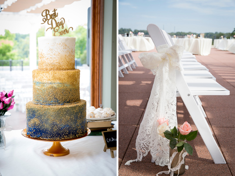 11-downtown-stillwater-minnesota-public-library-rooftop-wedding-day-ceremony-detail-cake-navy-blue-white-frosting-gold-sprinkles-best-day-ever-topper-melanie-mahonen-photography