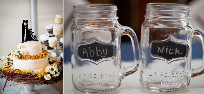 12-fall-tent-wedding-reception-details-cake-mason-jars-melnaie-mahonen-photography