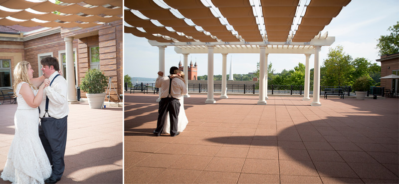 16-dowtown-stillwater-public-library-rooftop-wedding-reception-minnesota-bride-groom-first-dance-melanie-mahonen-photography