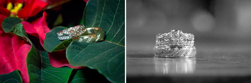06-wedding-ring-detail-shot-black-and-white-poinsettia-christmas-winter-melanie-mahonen-photography