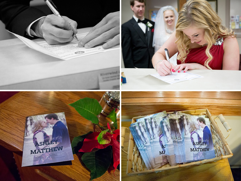 10-peace-lutheran-church-coon-rapids-minnesota-marriage-license-signing-programs-detail-shot-christmas-wedding-melanie-mahonen-photography