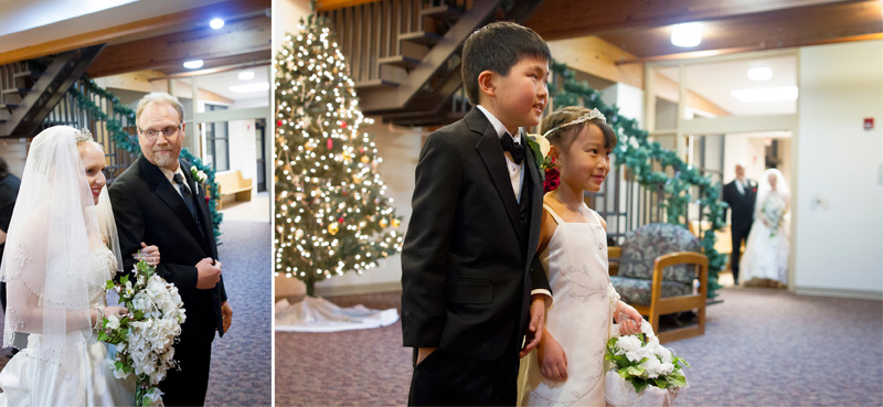 11-peace-lutheran-churchcoon-rapids-minnesota-winter-christmas-wedding-pre-ceremony-ring-bearer-flower-girl-bride-father-melanie-mahonen-photography