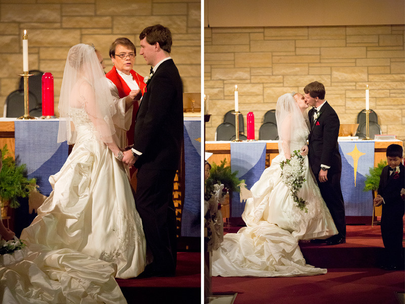 15-peace-lutheran-church-coon-rapids-minnesota-christmas-wedding-ceremony-first-kiss-melanie-mahonen-photography