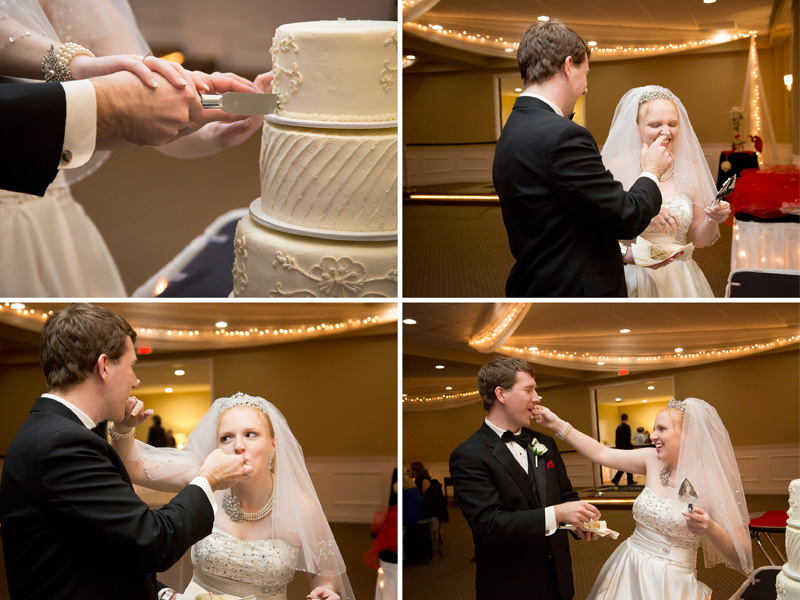 19-the-elegance-room-banquets-of-minnesota-blaine-christmas-wedding-reception-cake-cutting-bride-groom-frosting-melanie-mahonen-photography