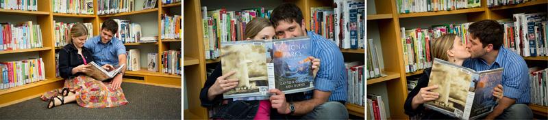 01-st-anthony-park-library-saint-paul-minnesota-engagment-session-national-parks-book-adventurous-couple-melanie-mahonen-photography
