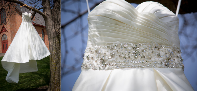 02-little-log-house-pioneer-village-hastings-minnesota-spring-wedding-day-bridal-gown-hanging-in-tree-beading-detail-shot-melanie-mahonen-photography