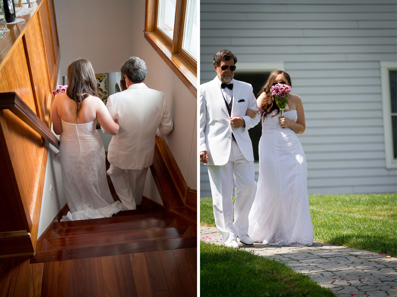 05-minnesota-summer-backyard-wedding-ceremony-bride-father-walking-down-the-aisle-melanie-mahonen-photography