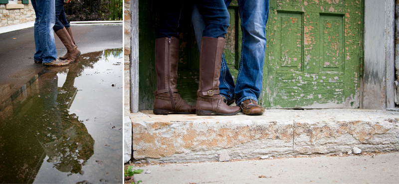 07-engagment-session-fall-footwear-boots-rain-puddles-refelection-green-weathered-door-melanie-mahonen-photography