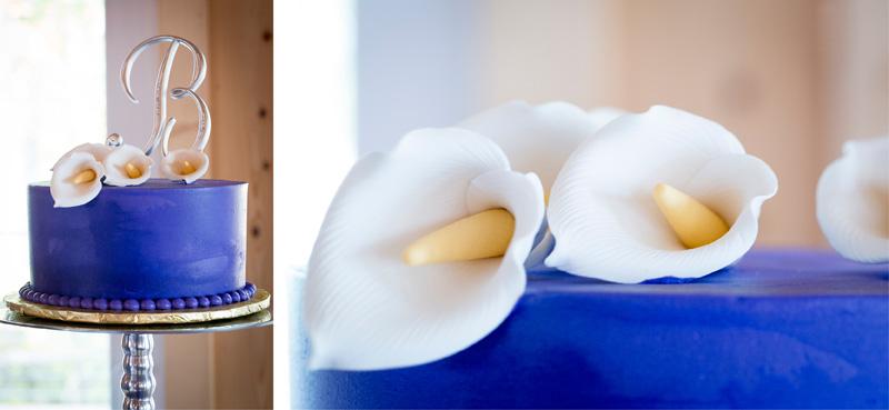 12-wedding-cake-detail-shot-white-cala-lillies-purple-silver-monogram-topper-melanie-mahonen-photography