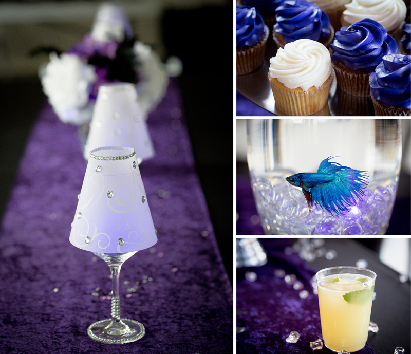 13-purple-and-white-wedding-reception-details-cupcakes-signature-drink-beta-fish-centerpeice-melanie-mahonen-photography