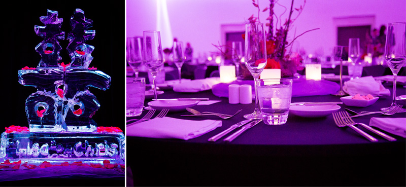 18-radisson-blu-mall-of-america-bloomington-minnesota-wedding-reception-details-chinese-ice-sculpture-table-setting-purple-uplighting-melanie-mahonen-photography