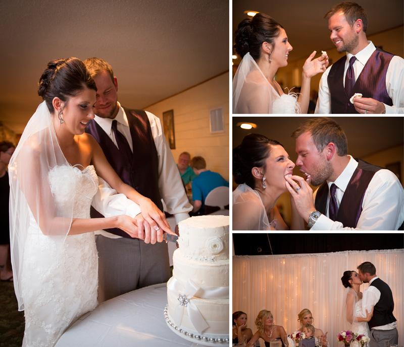 18-wedding-reception-cake-cutting-frosting-face-kiss-melanie-mahonen-photography