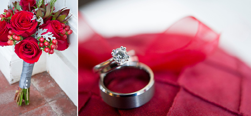 11-wedding-day-details-rings-flowers-bridal-bouquet-red-roses-berries-melanie-mahonen-photography