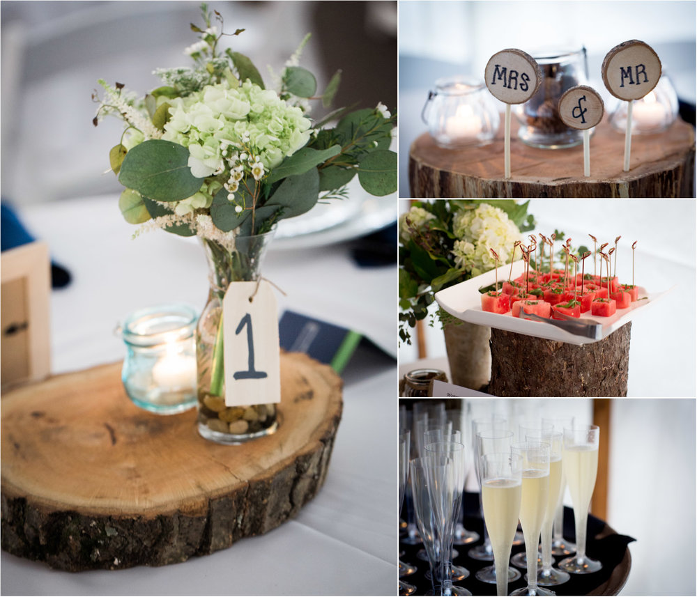 18-cabin-wedding-day-tent-reception-details-food-watermelon-mrs-and-mr-champagne-white-hydrangeas-table-centerprices-spring-flowers-mahonen-photography