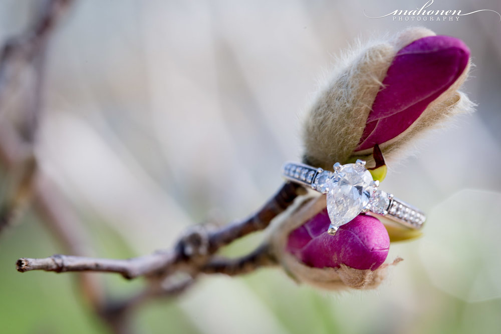 04-spring-engagment-detail-shot-pear-shaped-diamond-ring-magnolia-bloom-mahonen-photography