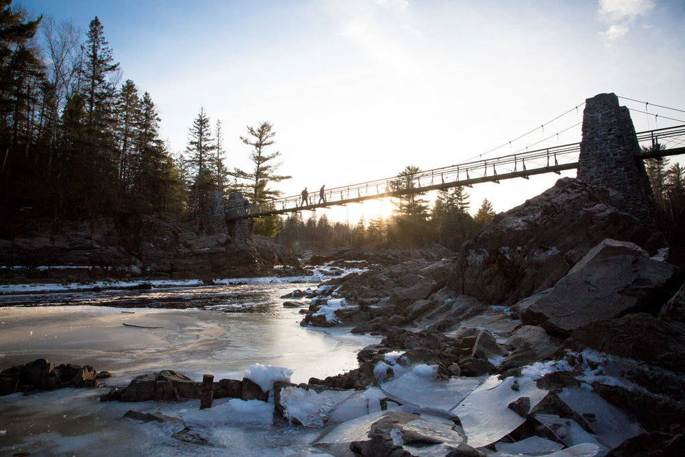 The swinging bridge at Jay Cooke State Park at sunset!