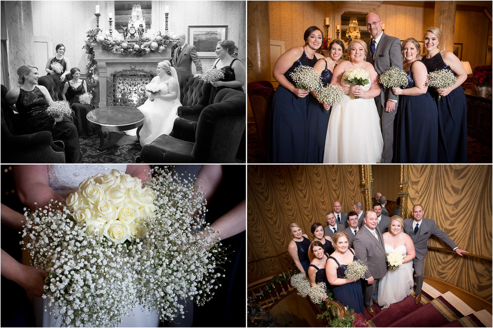 05-the-st-paul-hotel-minnestoa-winter-wedding-day-new-years-eve-fireplace-wedding-party-boquets-flowers-white-roses-babys-breath-mahonen-photography.jpg