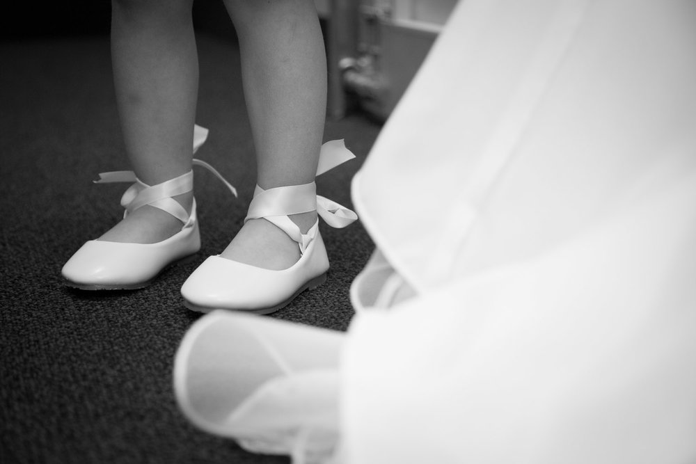 What a perfect pair of ballet style slippers for these tiny flower girl feet!
