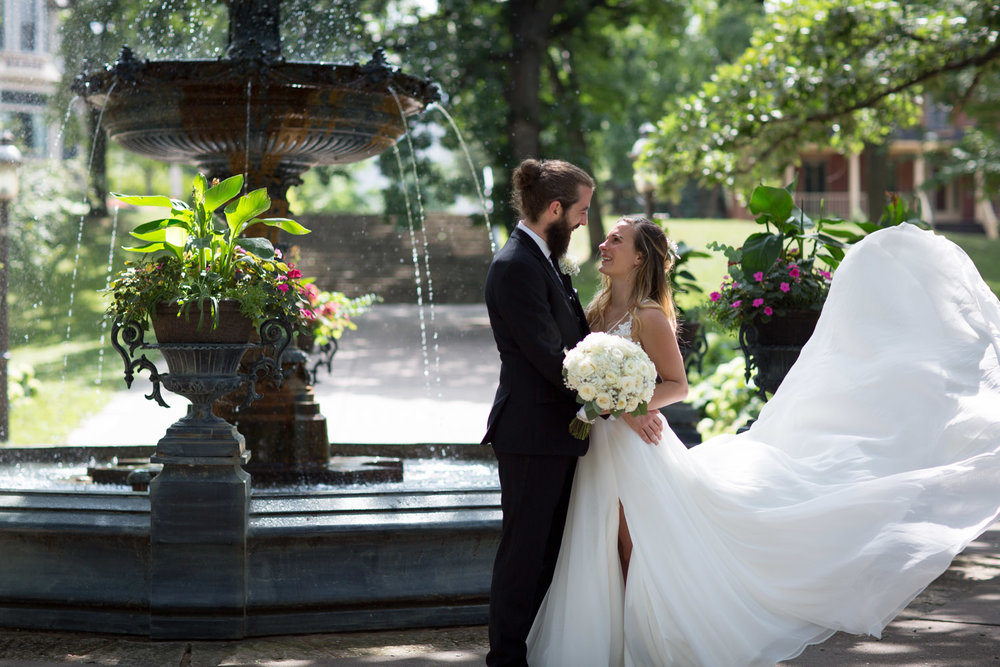 We took a walk over to Irvine Park for a few portraits of Liz and Pat! I love this cute little park in St. Paul with it's magical light and fancy fountain!