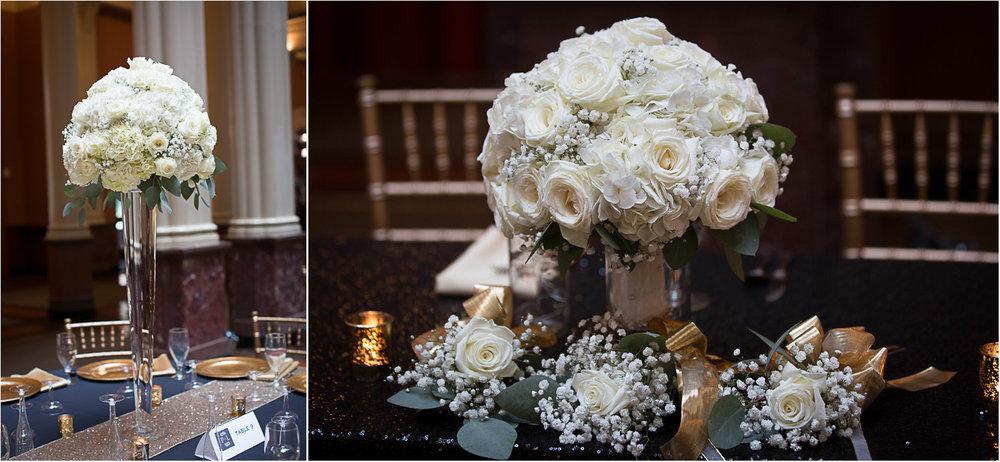 20-the-landmark-center-st-paul-mn-wedding-photographer-reception-details-gold-sequin-linen-babys-breath-white-flowers-hydrangeas-roses-mahonen-photography.jpg