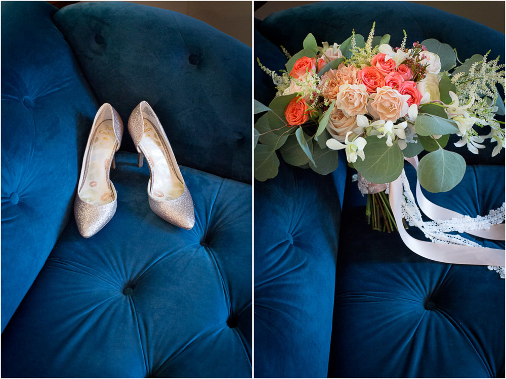 05-hotel-broz-new-prague-mn-minnesota-wedding-venue-photographer-styled-shoot-details-gold-glittery-shoes-bridal-bouquet-pink-roses-eucalyptus-greenery-long-ribbon-blue-velvet-couch-victorian-themes-mahonen-photography.jpg