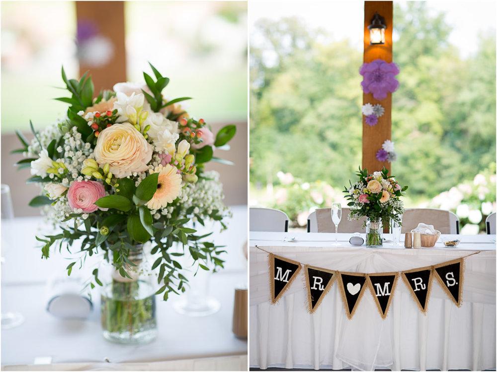 26-ridgetop-prescott-wisconsin-wedding-photographer-rustic-farm-corn-field-pavillion-reception-details-head-table-paper-flowers-burlap-banner-mr-and-mrs-mahonen-photography.jpg