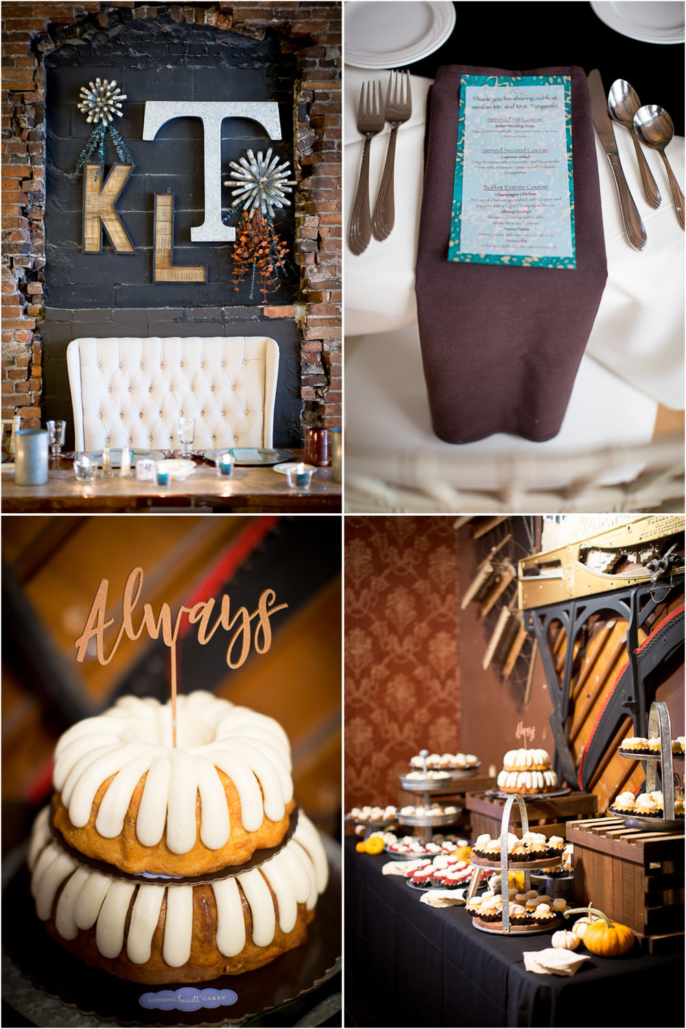 23-loft-at-studio-j-stillwater-mn-wedding-reception-details-initials-moonogram-head-table-fall-colors-brown-napkins-turquois-menus-place-setting-dessert-nothing-bundt-cakes-minnesota-photographer-mahonen-photography.jpg