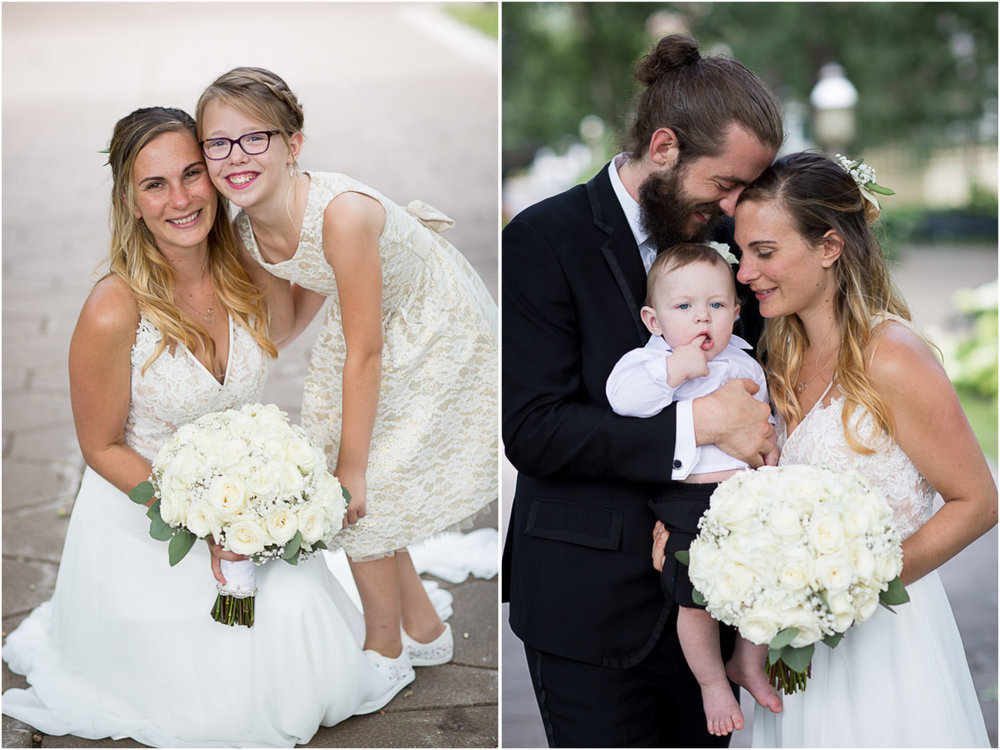 This couple included many young kids in their wedding day including their own sweet baby boy. Grandparents and trusted friends took turns helping them out with the little guy so that they could enjoy their wedding day while making their special guy part of it!