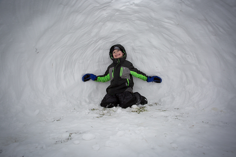 Here's H inside the snow fort!