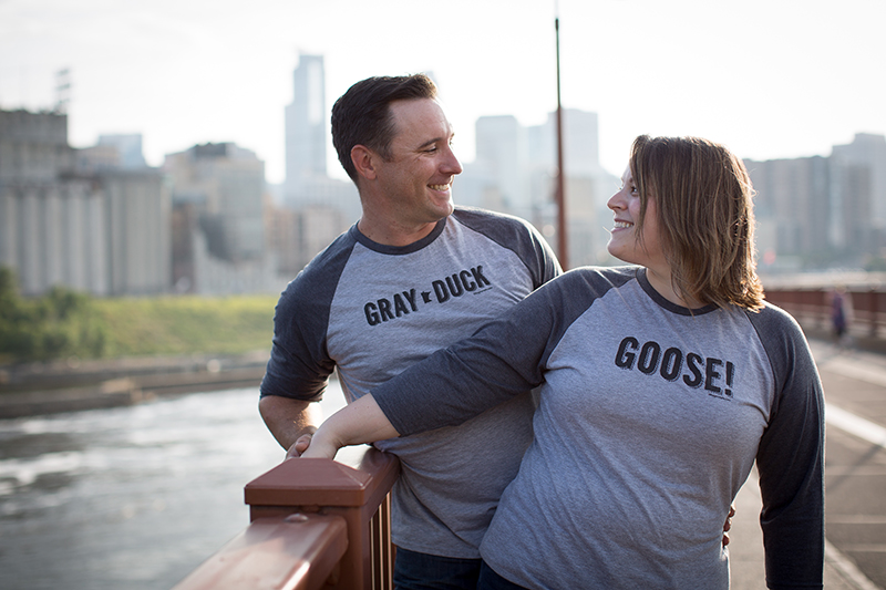 The whole session doesn't have to be about these shirts. This couple did an outfit swap after taking most of their images wearing different tops.