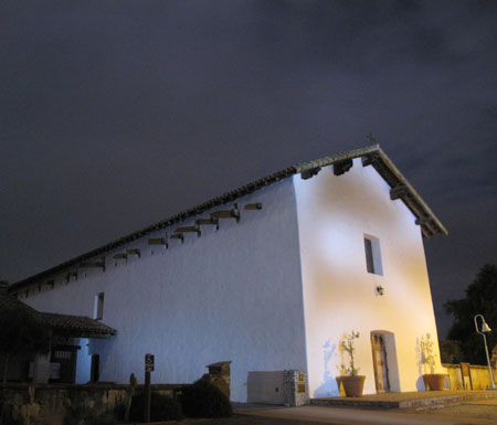 San Miguel Mission at night