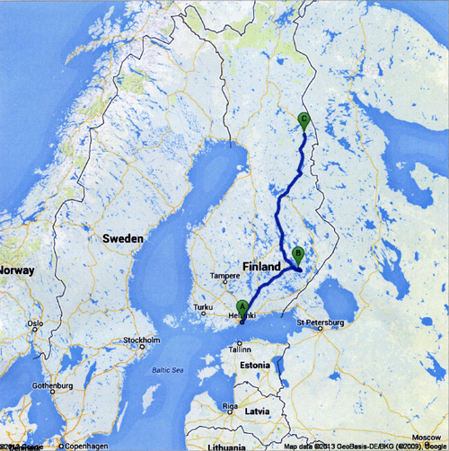 Kim Weston - Map of Finland Trip